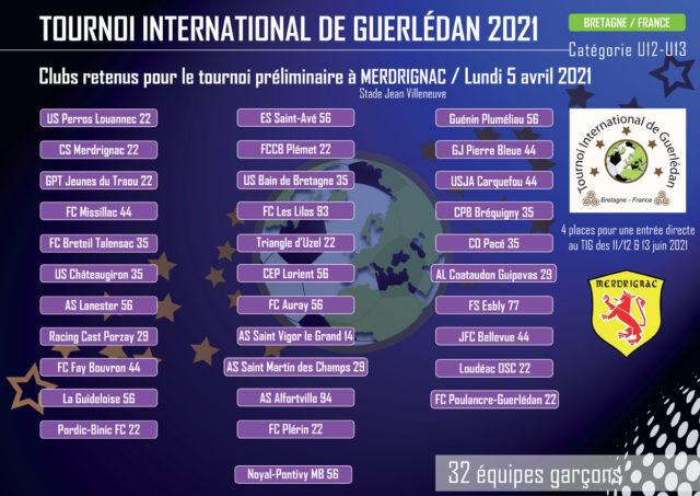 CLUBS SELECTIONNÉS POUR MERDRIGNAC 2021
